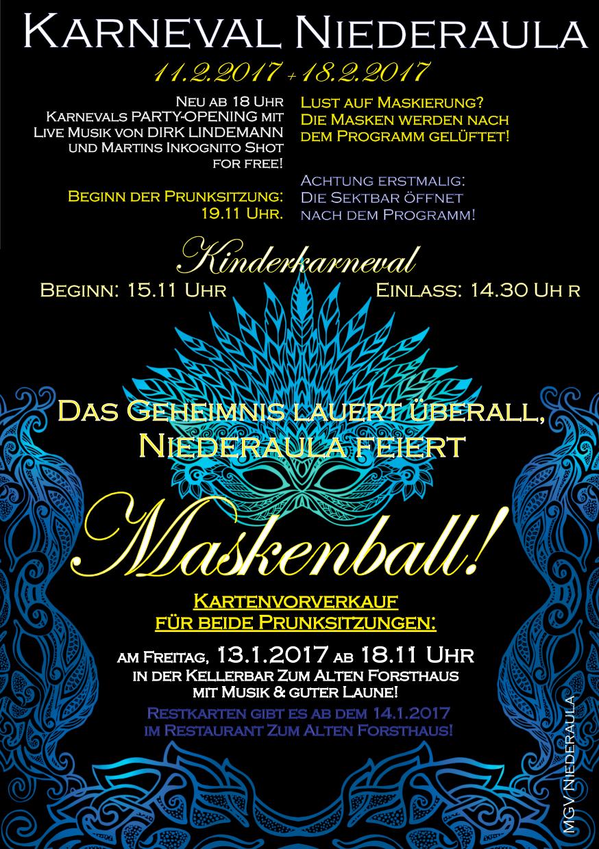Maskenball zum Karneval in Niederaula 11. + 18.2.2017